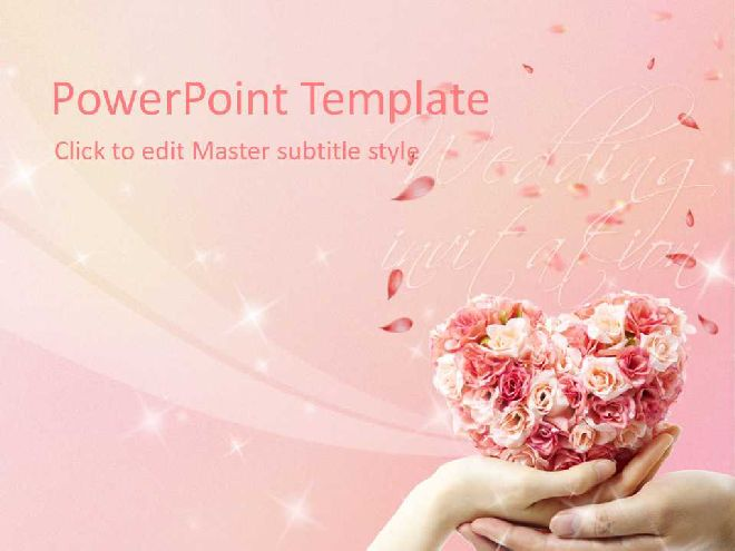 pink romantic wedding theme ppt template