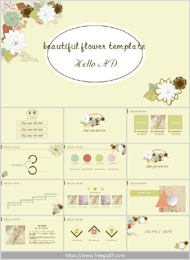 Literary Beautiful Flower Ppt Template Best Powerpoint