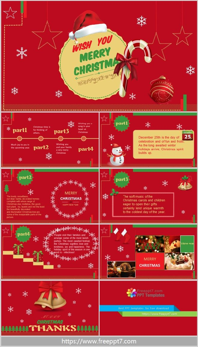 Merry Christmas Powerpoint Template Red Best Powerpoint
