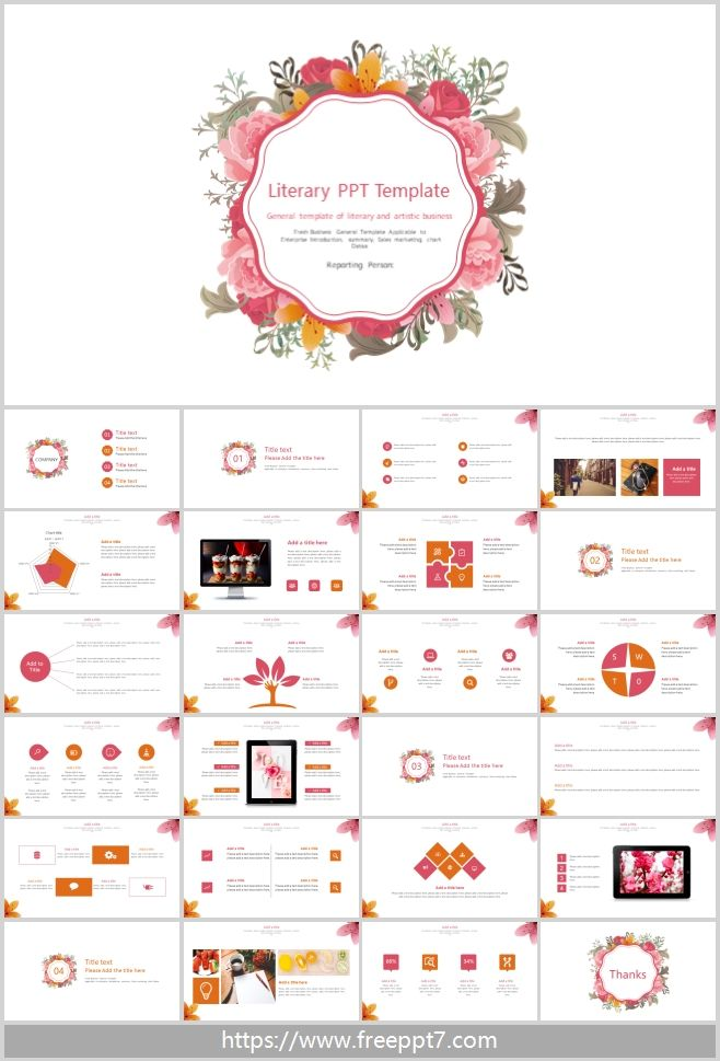 General Ppt Template Of Literary And Artistic Business Best