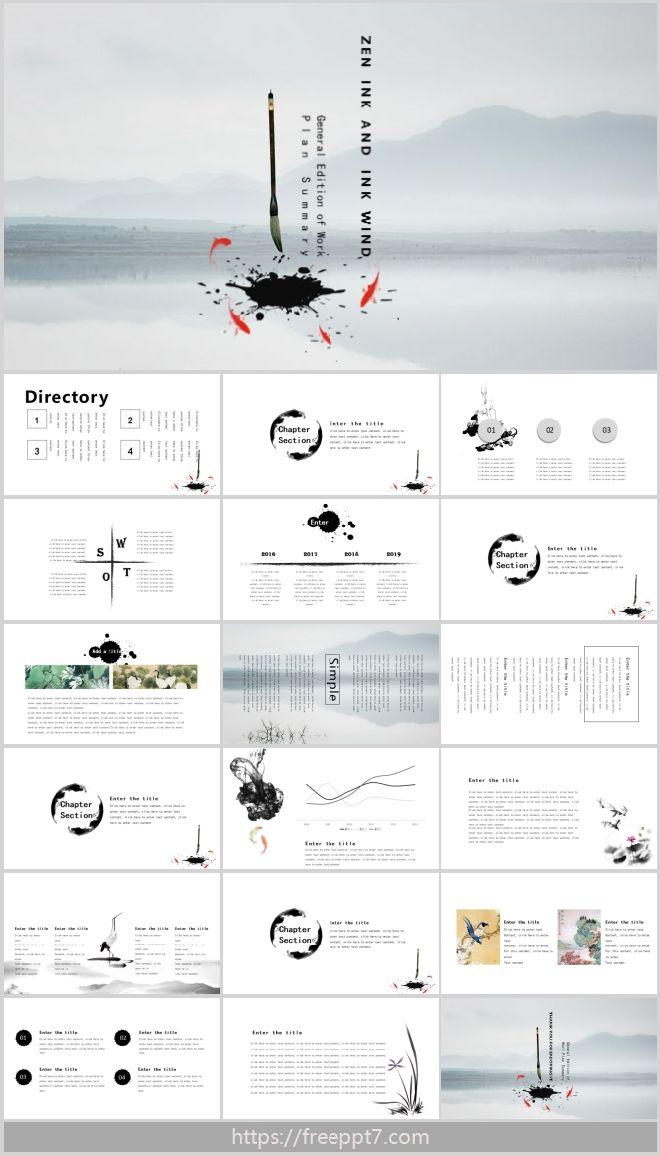 Powerpoint Template Of Zen Ink Wash Style Best Powerpoint Templates And Google Slides For Free Download