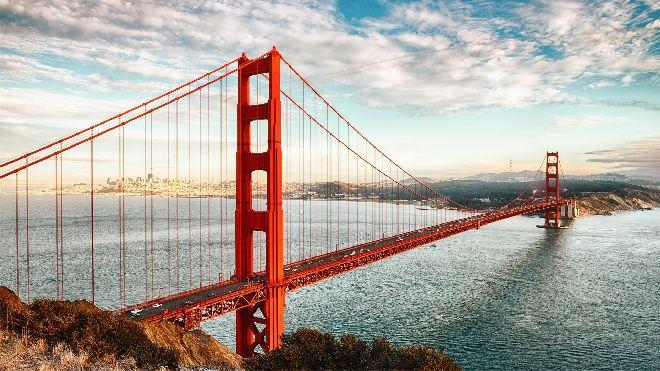 majestic golden gate bridge powerpoint background pictures