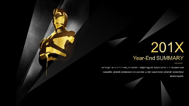 Black Gold Series Year End Summary Ppt Template Best