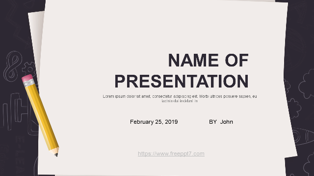 <b>Pencil and paper background PowerPoint template</b>