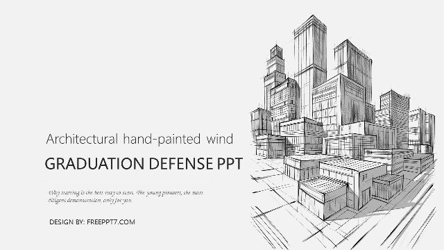<b>Hand-painted building style graduation reply PPT template</b>