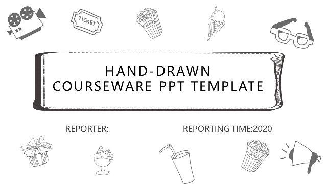 Hand drawn teaching courseware PowerPoint Templat
